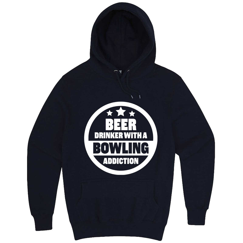 """Beer Drinker with a Bowling Addiction"" hoodie, 3XL, Navy"
