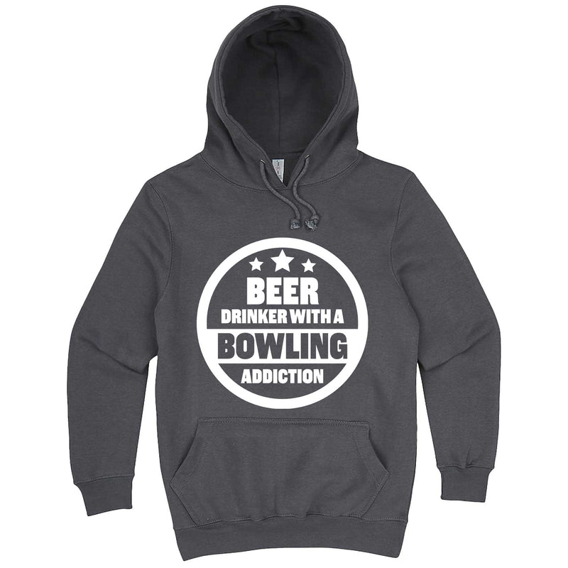 """Beer Drinker with a Bowling Addiction"" hoodie, 3XL, Storm"