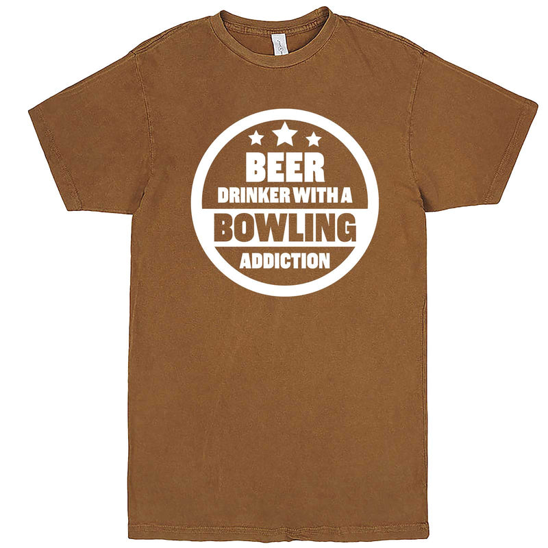 """Beer Drinker with a Bowling Addiction"" men's t-shirt Vintage Camel"