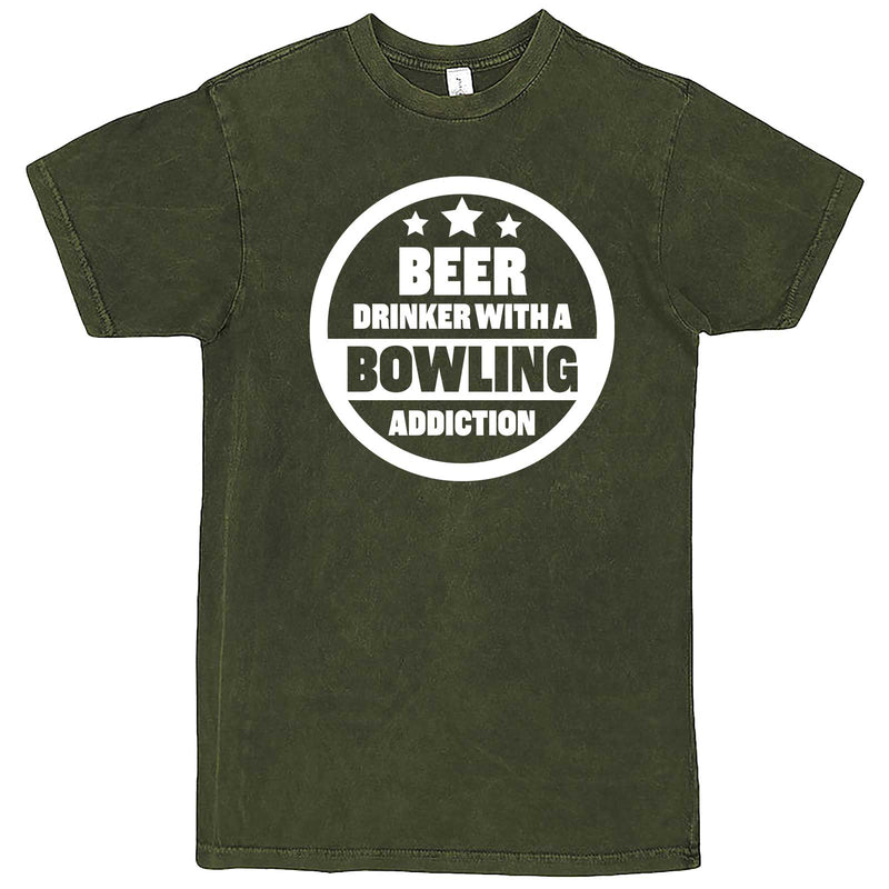 """Beer Drinker with a Bowling Addiction"" men's t-shirt Vintage Olive"