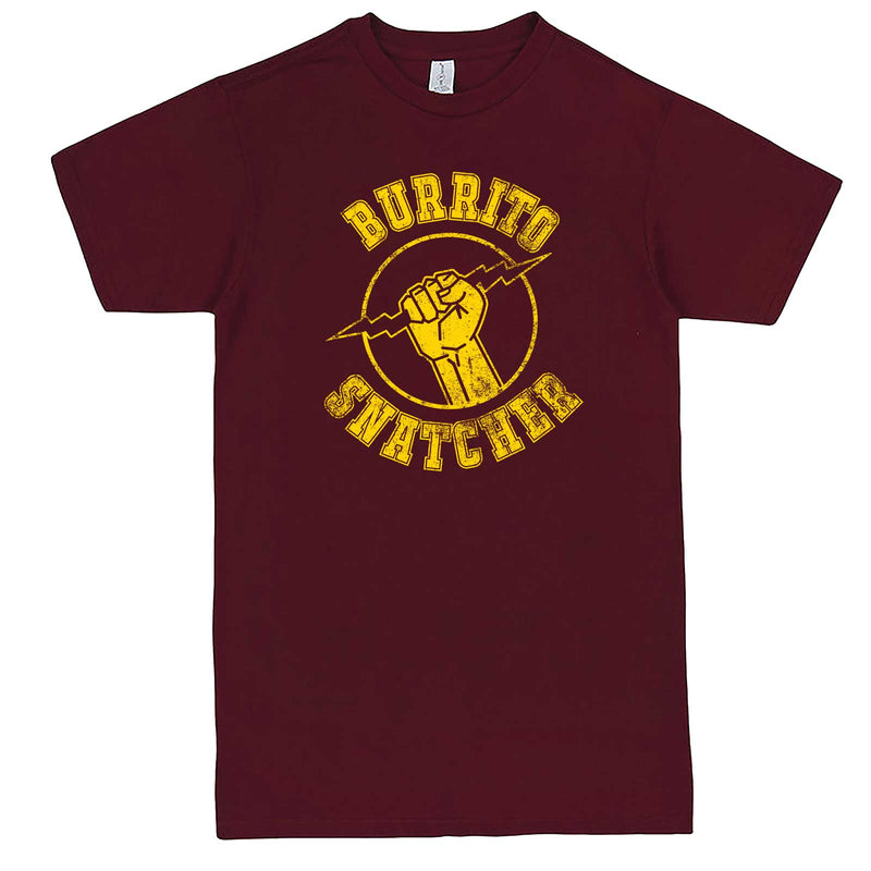 """Burrito Snatcher"" men's t-shirt Burgundy"
