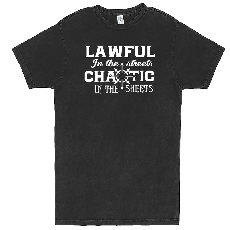 """Lawful in the Streets, Chaotic in the Sheets"" men's t-shirt Vintage Black"