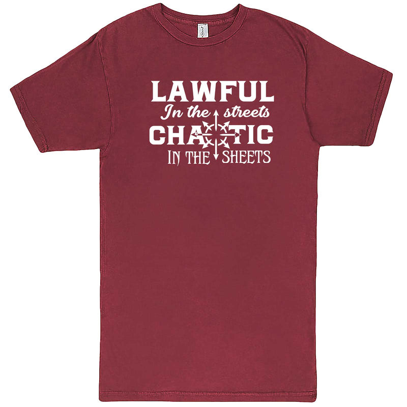 """Lawful in the Streets, Chaotic in the Sheets"" men's t-shirt Vintage Brick"