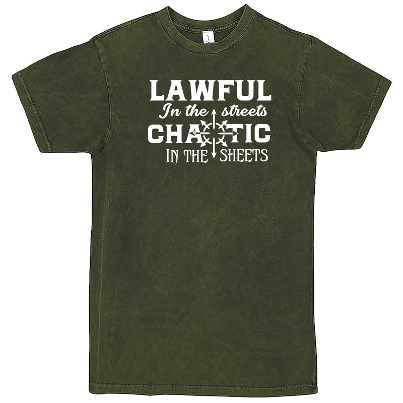 """Lawful in the Streets, Chaotic in the Sheets"" men's t-shirt Vintage Olive"