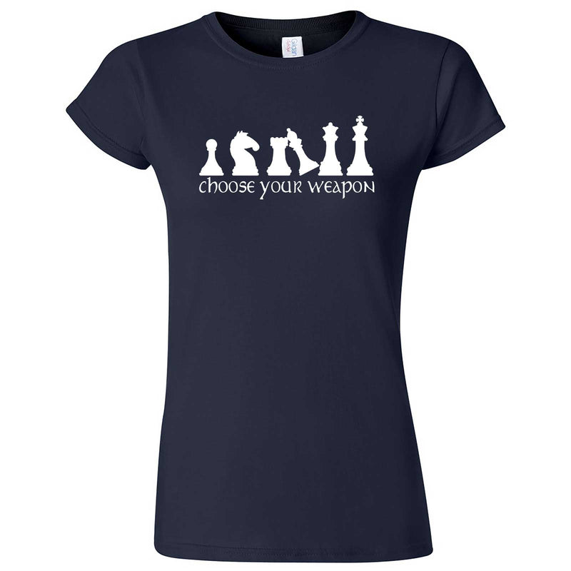 """Choose Your Weapon - Chess"" women's t-shirt Navy Blue"