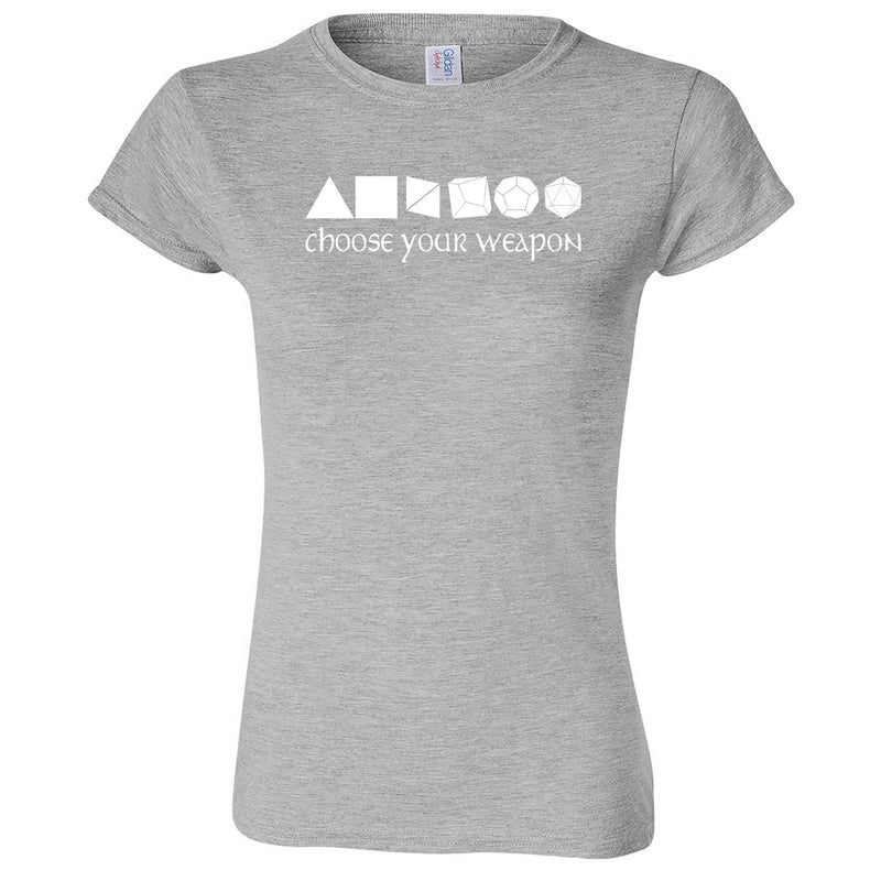 """Choose Your Weapon - Role-Playing Games"" women's t-shirt Sport Grey"