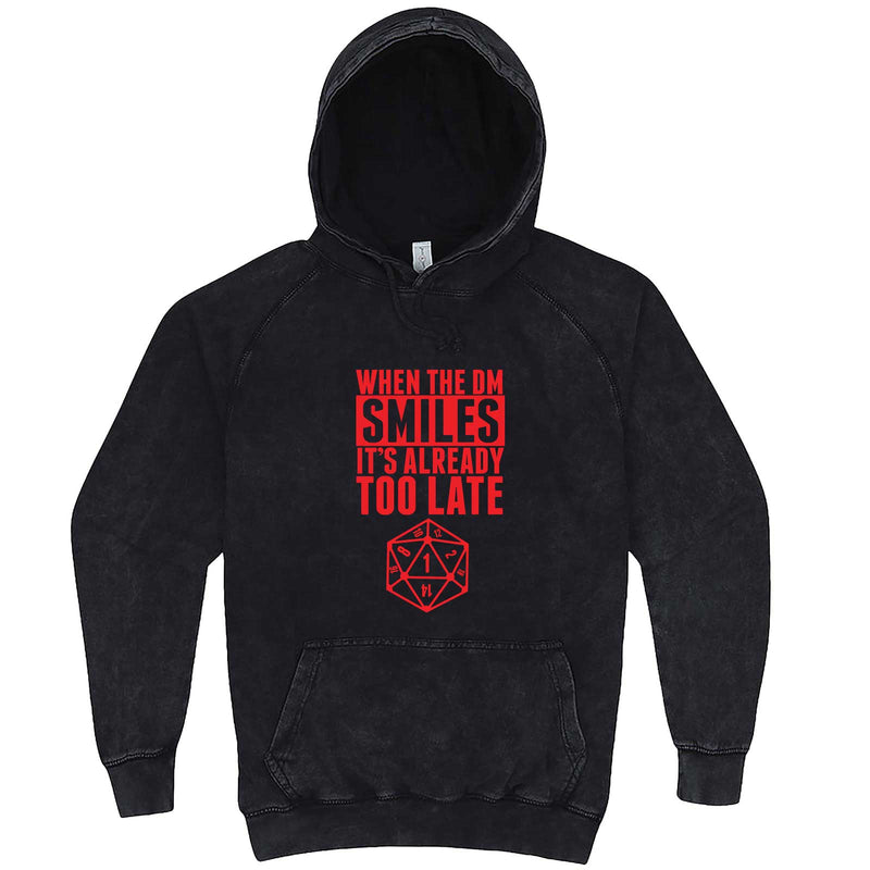 """When the DM Smiles It's Already Too Late, Red"" hoodie, 3XL, Vintage Black"