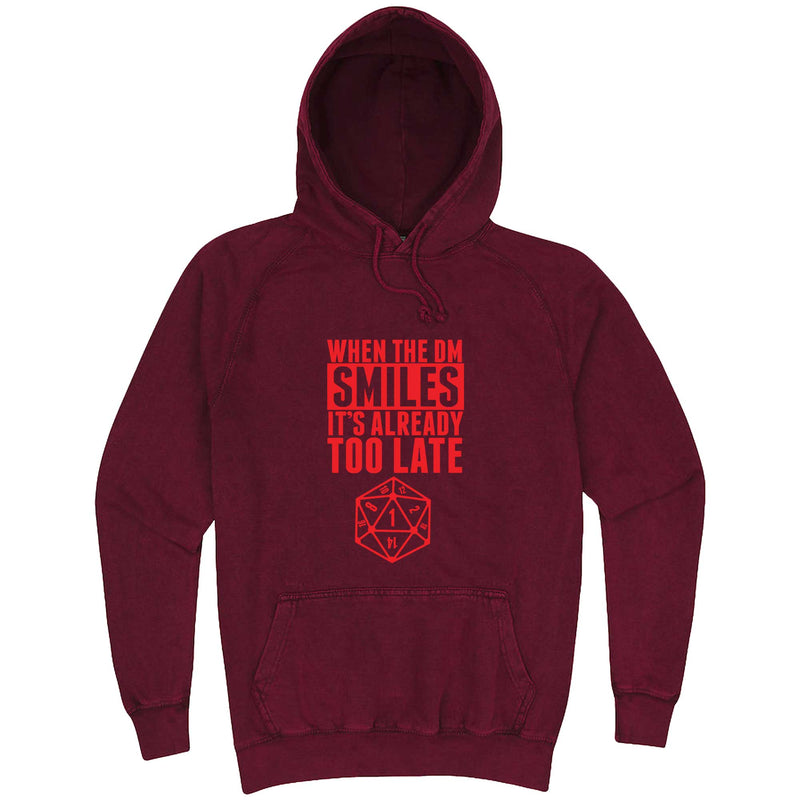 """When the DM Smiles It's Already Too Late, Red"" hoodie, 3XL, Vintage Brick"