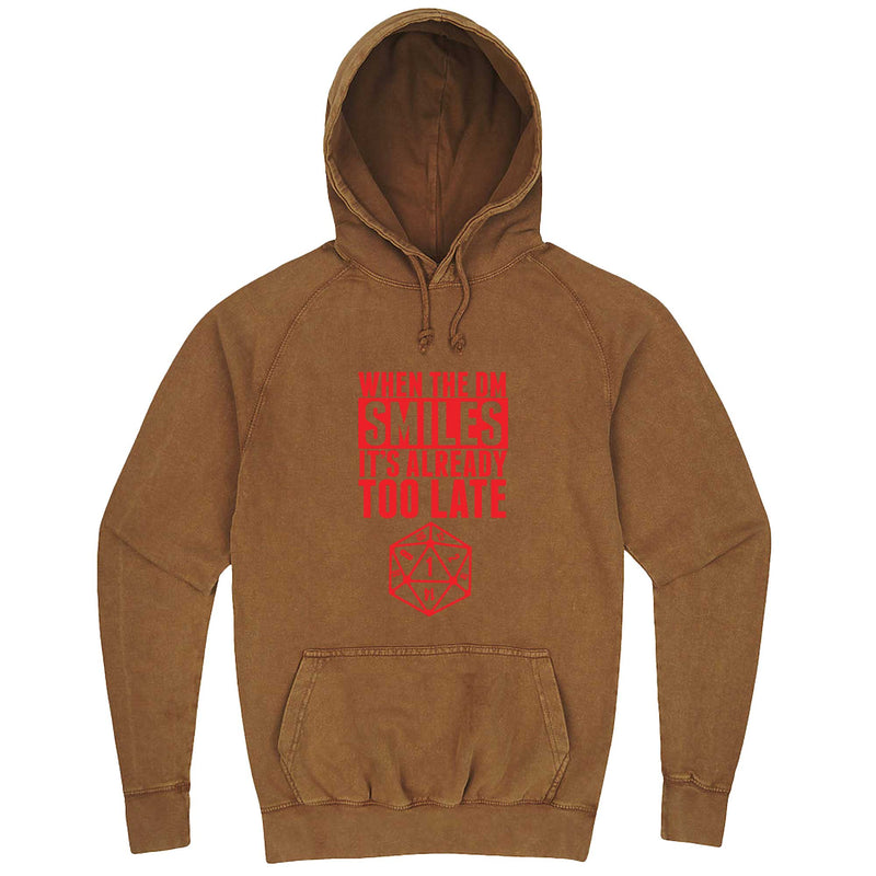 """When the DM Smiles It's Already Too Late, Red"" hoodie, 3XL, Vintage Camel"