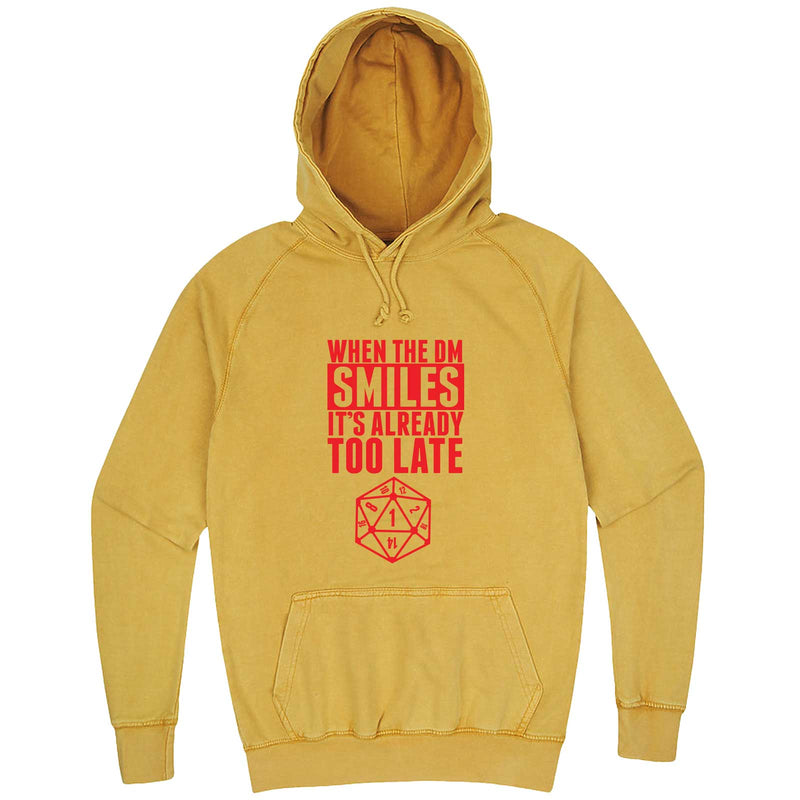 """When the DM Smiles It's Already Too Late, Red"" hoodie, 3XL, Vintage Mustard"