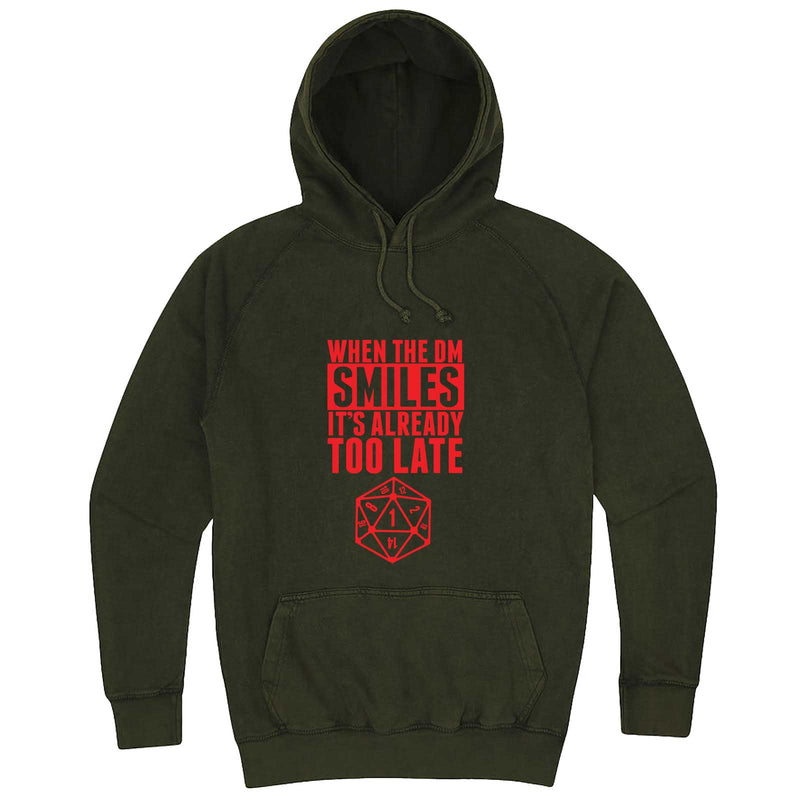 """When the DM Smiles It's Already Too Late, Red"" hoodie, 3XL, Vintage Olive"