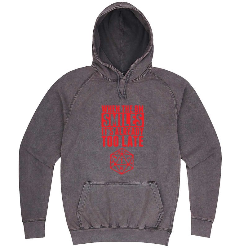 """When the DM Smiles It's Already Too Late, Red"" hoodie, 3XL, Vintage Zinc"