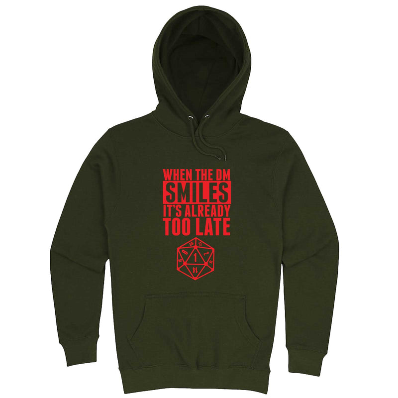 """When the DM Smiles It's Already Too Late, Red"" hoodie, 3XL, Army Green"