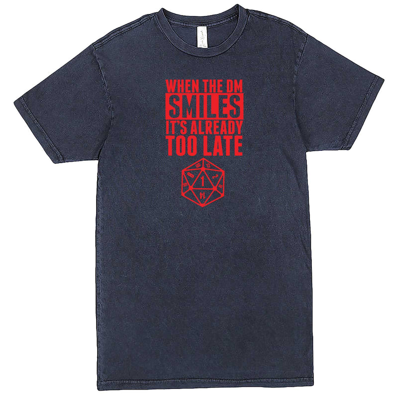 """When the DM Smiles It's Already Too Late, Red"" men's t-shirt Vintage Denim"