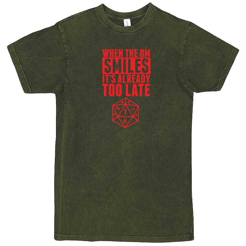 """When the DM Smiles It's Already Too Late, Red"" men's t-shirt Vintage Olive"