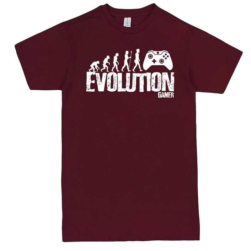 """Evolution of a Gamer"" men's t-shirt Burgundy"
