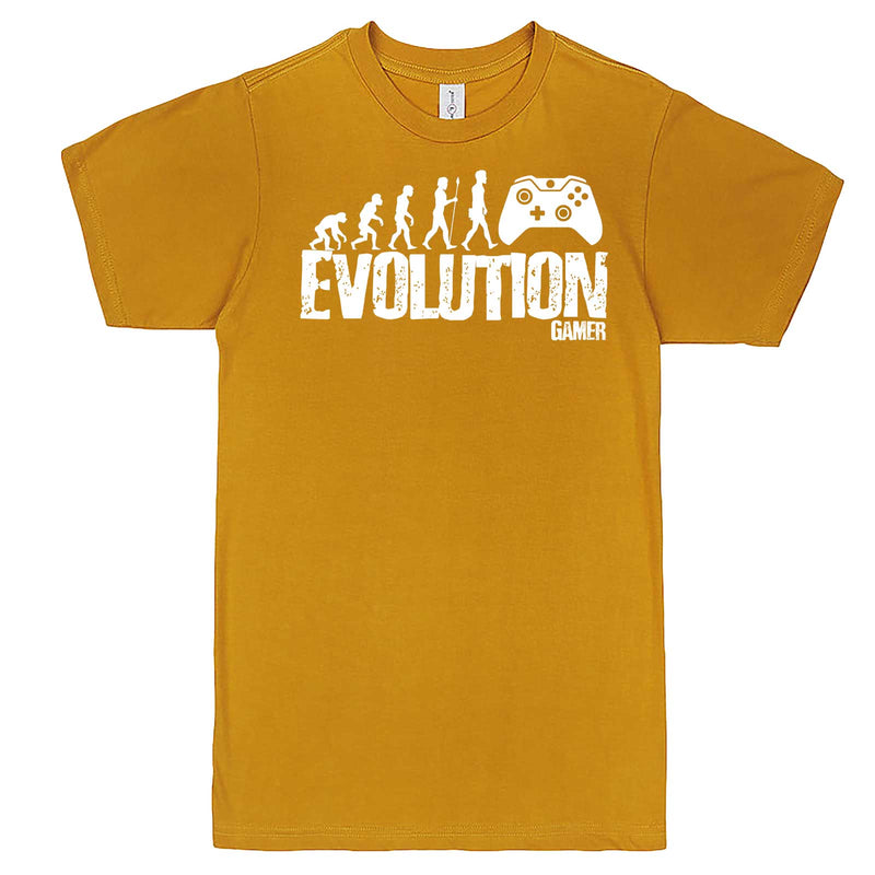 """Evolution of a Gamer"" men's t-shirt Mustard"