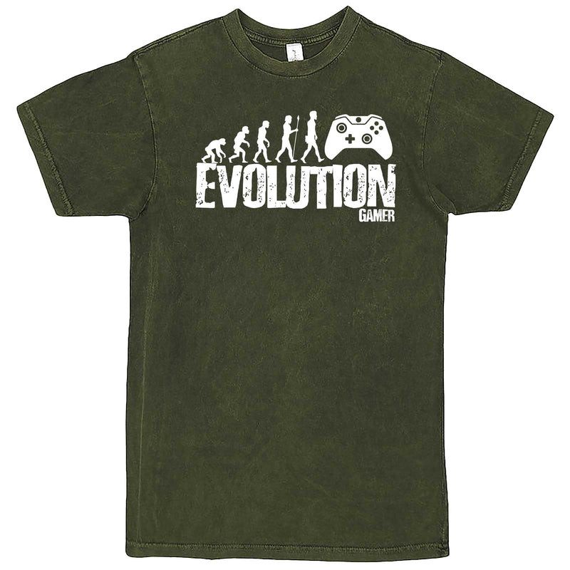 """Evolution of a Gamer"" men's t-shirt Vintage Olive"