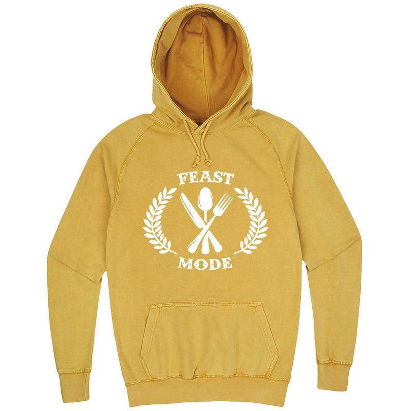 """Feast Mode for Thanksgiving"" hoodie, 3XL, Vintage Mustard"