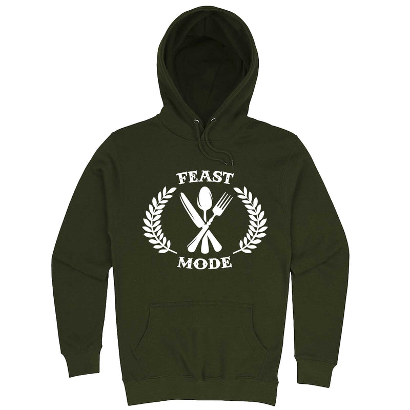 """Feast Mode for Thanksgiving"" hoodie, 3XL, Army Green"