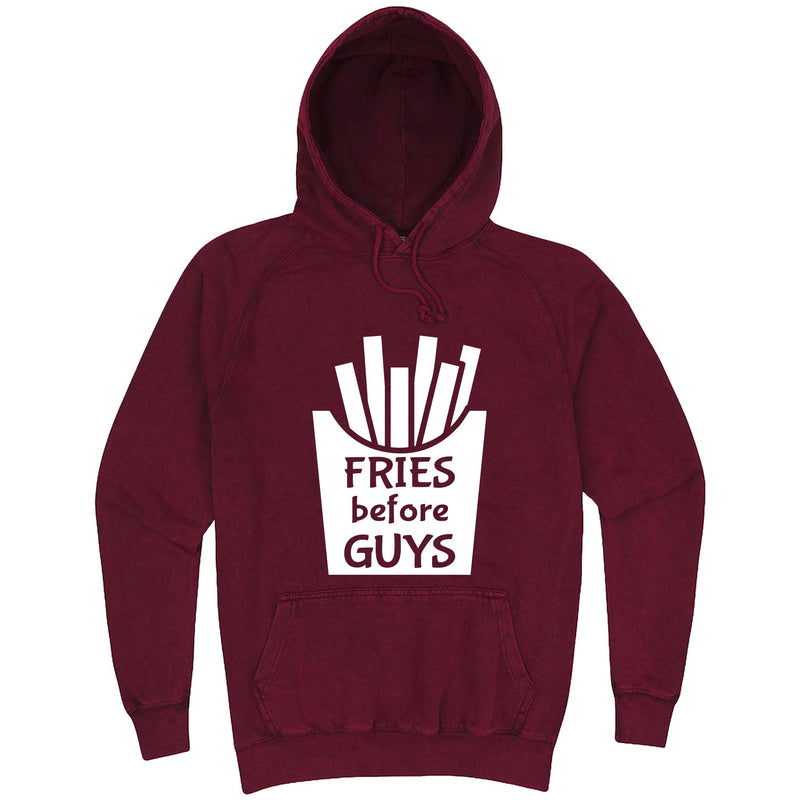 """Fries Before Guys"" hoodie, 3XL, Vintage Brick"