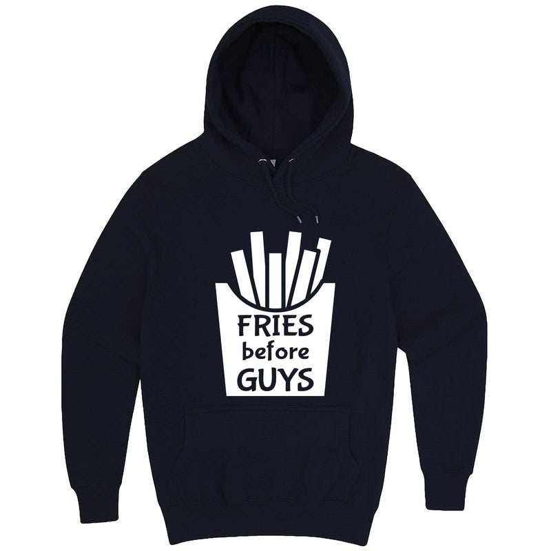 """Fries Before Guys"" hoodie, 3XL, Navy"