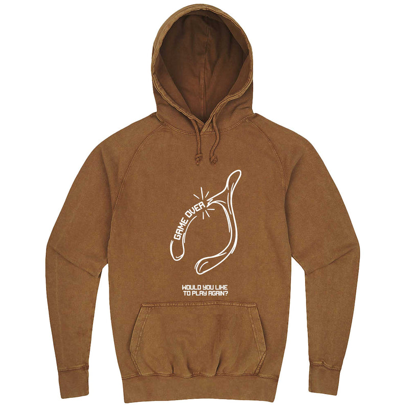 """Thanksgiving Wishbone Game Over, Would You Like to Play Again"" hoodie, 3XL, Vintage Camel"