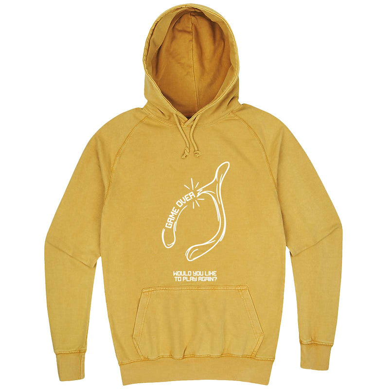 """Thanksgiving Wishbone Game Over, Would You Like to Play Again"" hoodie, 3XL, Vintage Mustard"
