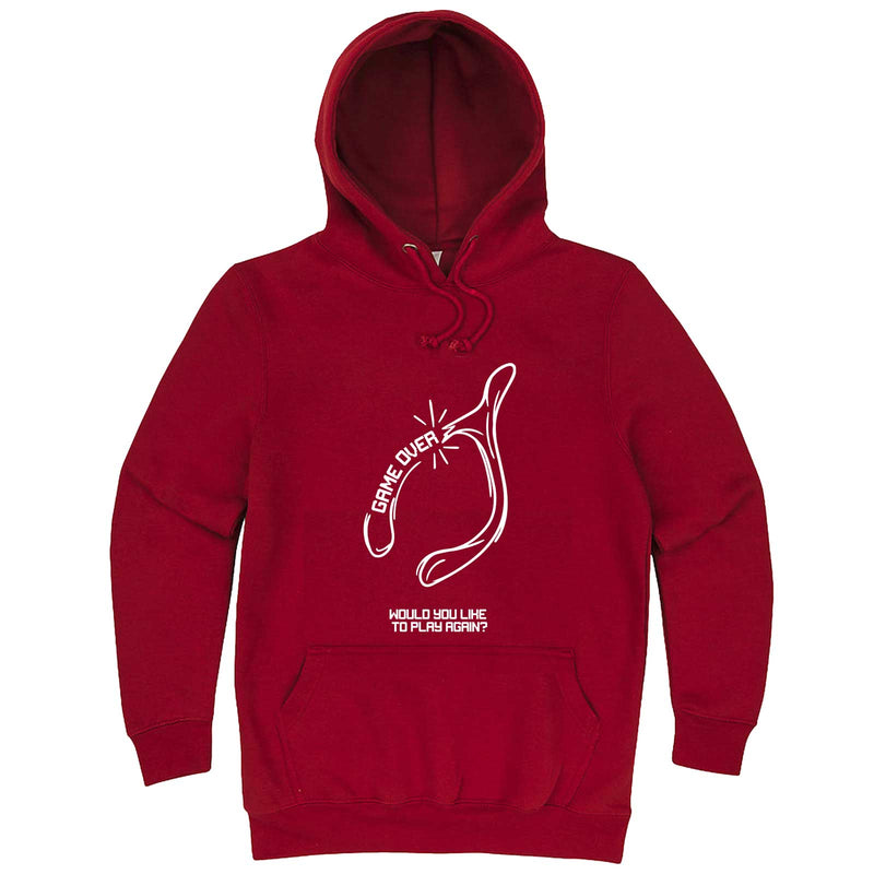 """Thanksgiving Wishbone Game Over, Would You Like to Play Again"" hoodie, 3XL, Paprika"