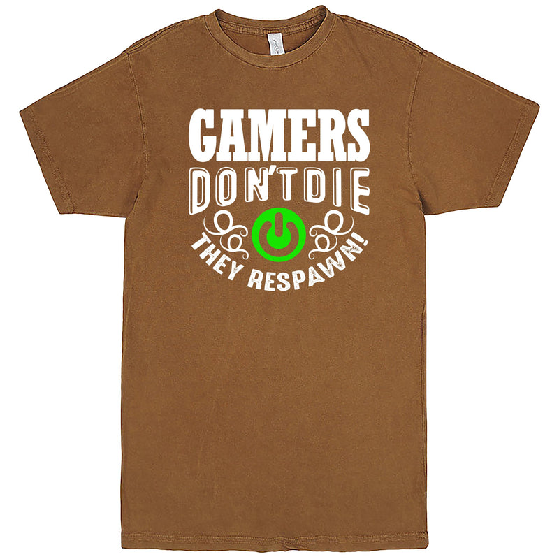 """Gamers Don't Die, They Respawn"" Men's Shirt Vintage Camel"