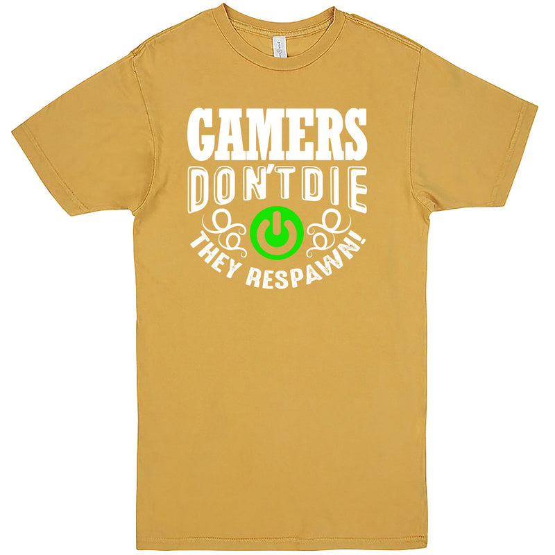 """Gamers Don't Die, They Respawn"" Men's Shirt Vintage Mustard"