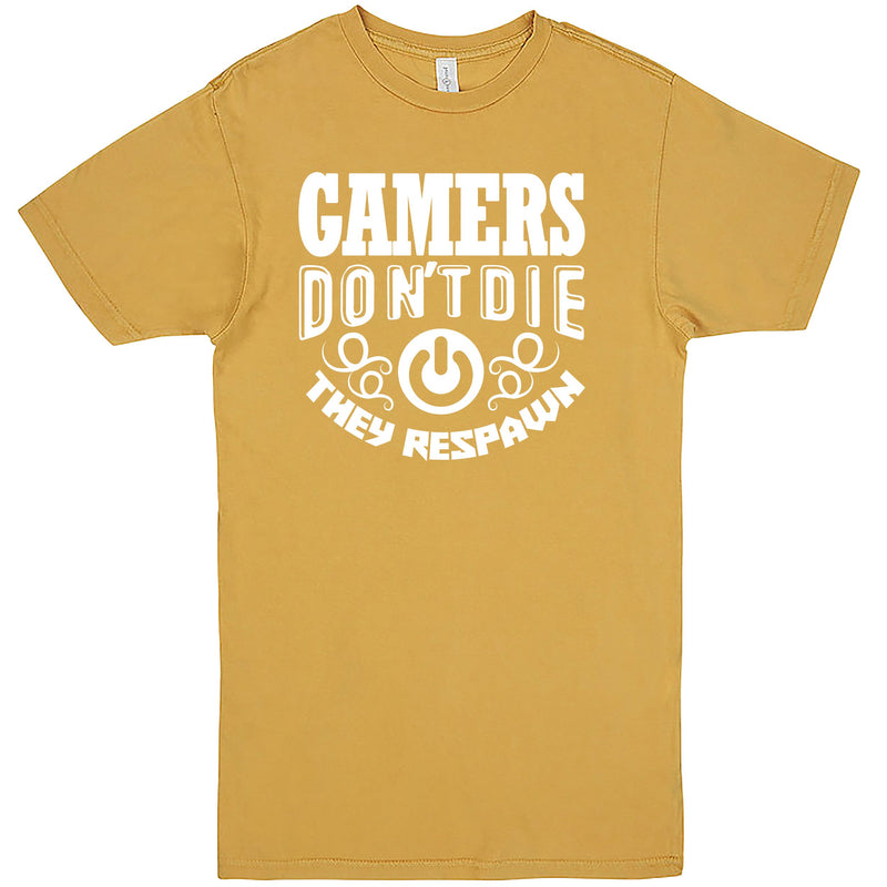 """Gamers Don't Die They Respawn"" Men's Shirt Vintage Mustard"