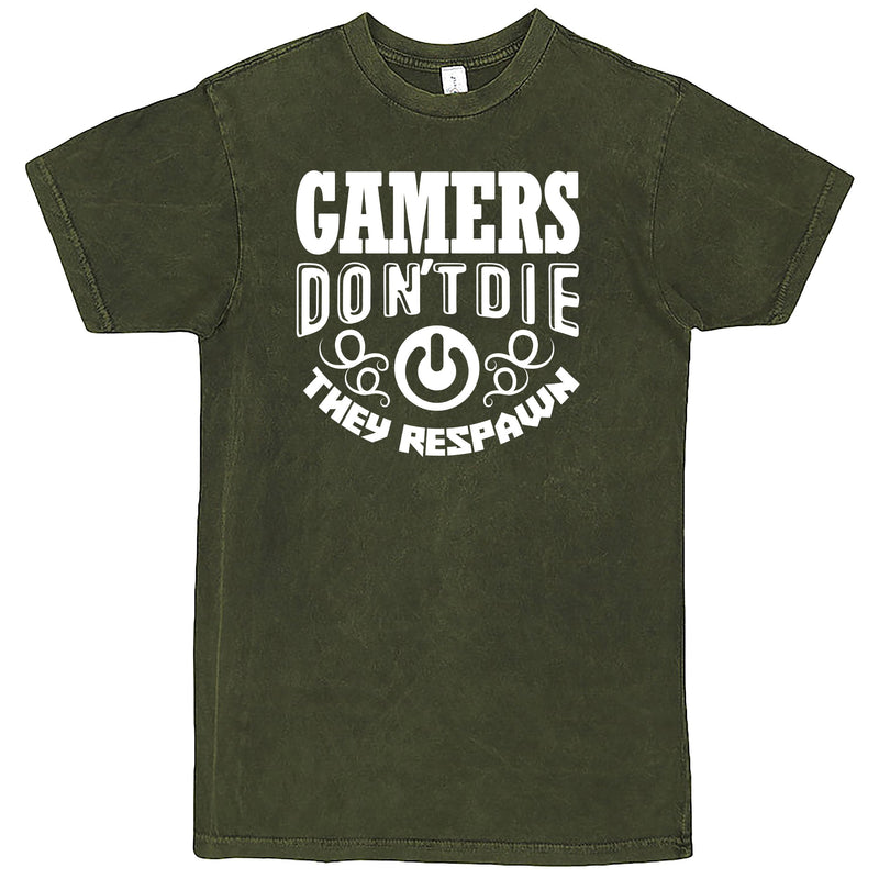 """Gamers Don't Die They Respawn"" Men's Shirt Vintage Olive"