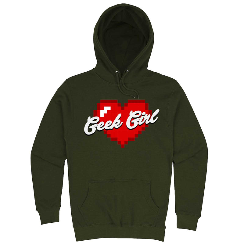 """Geek Girl"" hoodie, 3XL, Army Green"