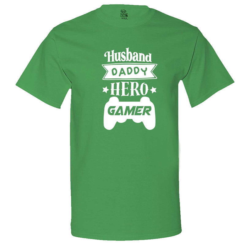 """Husband Daddy Hero Gamer"" men's t-shirt Irish-Green"