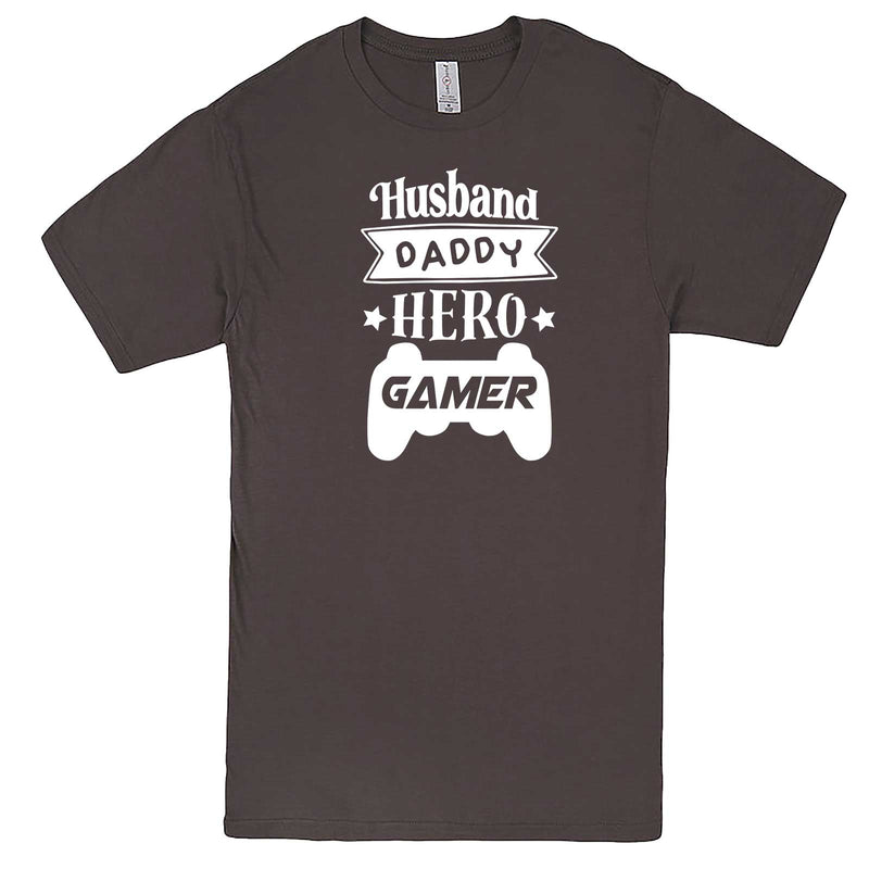 """Husband Daddy Hero Gamer"" men's t-shirt Charcoal"