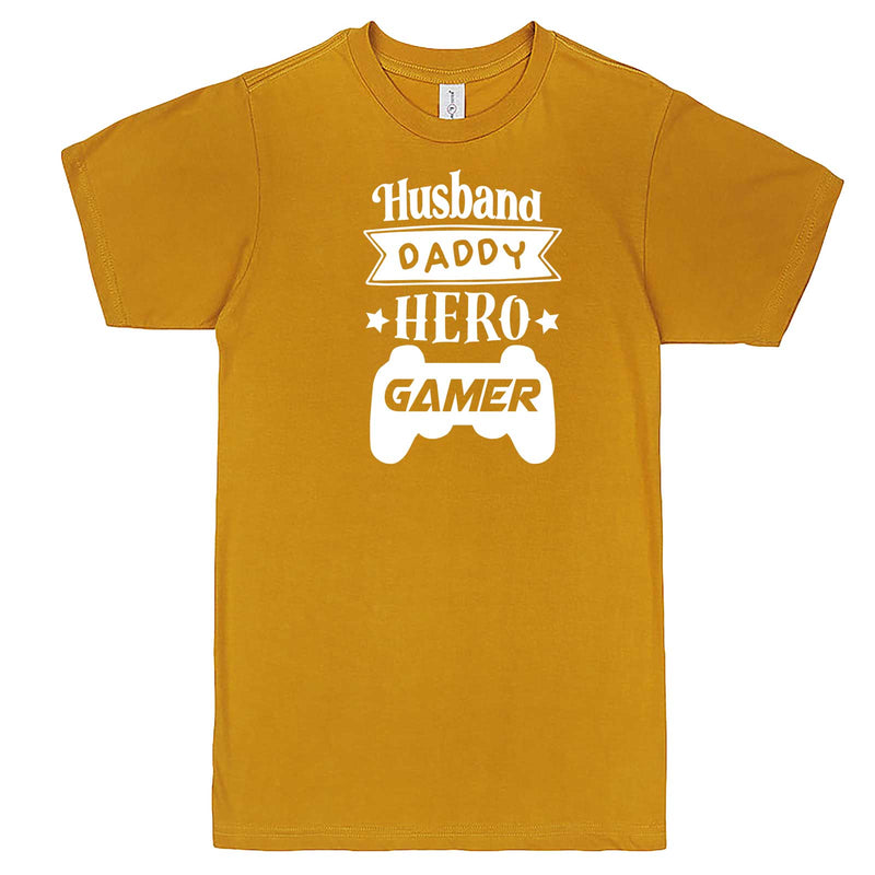 """Husband Daddy Hero Gamer"" men's t-shirt Mustard"