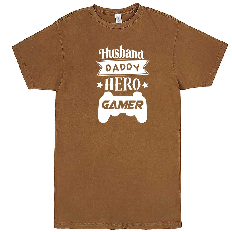 """Husband Daddy Hero Gamer"" men's t-shirt Vintage Camel"