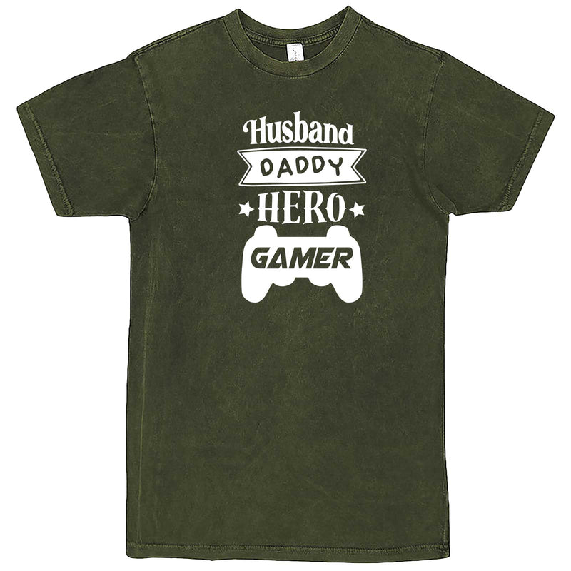 """Husband Daddy Hero Gamer"" men's t-shirt Vintage Olive"