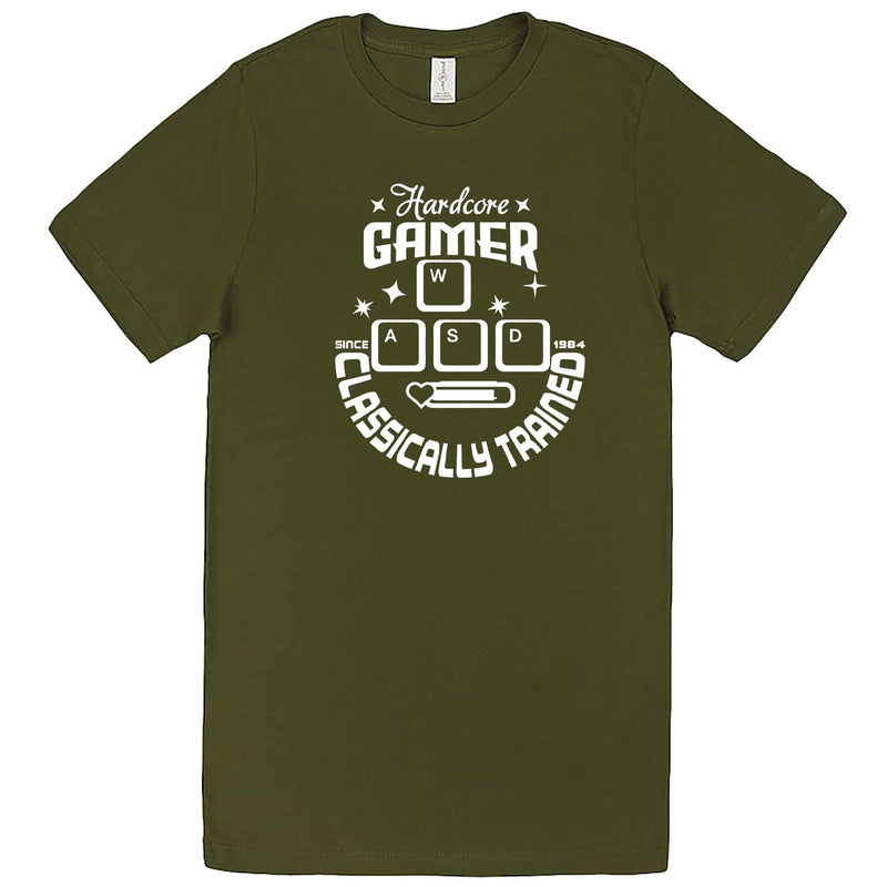 """Hardcore Gamer, Classically Trained"" men's t-shirt Army Green"