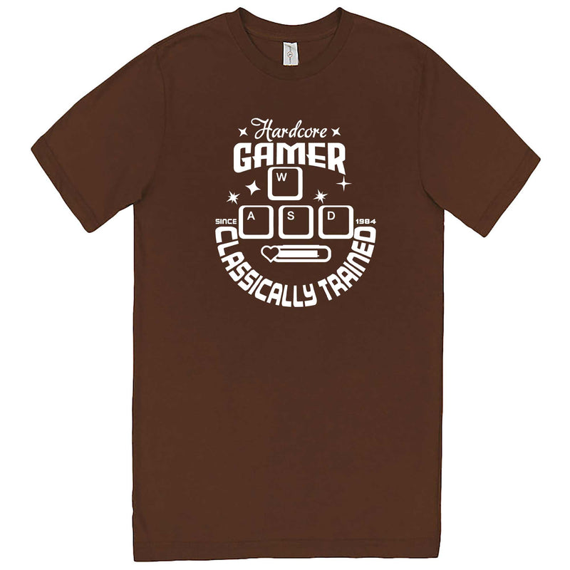 """Hardcore Gamer, Classically Trained"" men's t-shirt Chestnut"