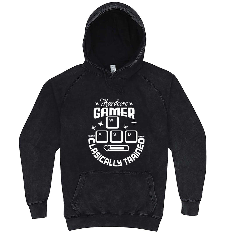 """Hardcore Gamer, Classically Trained"" hoodie, 3XL, Vintage Black"
