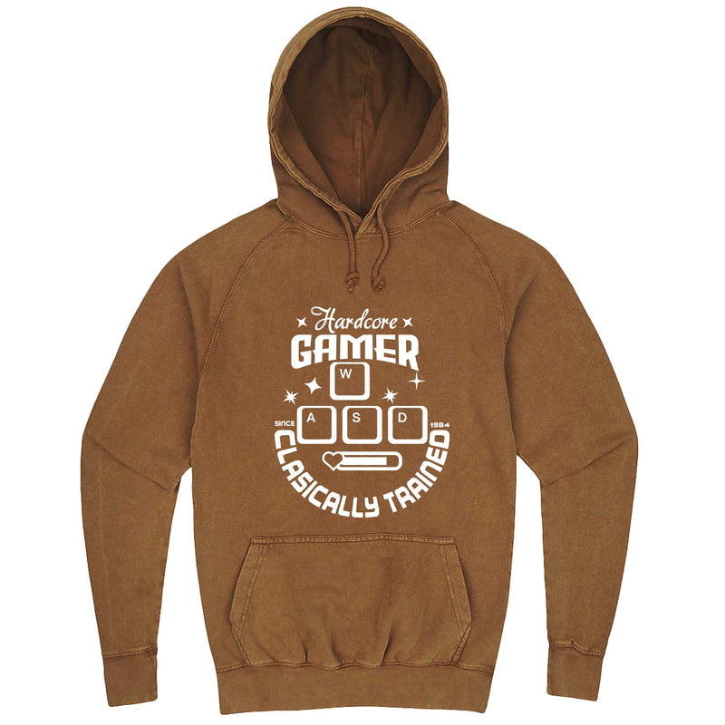 """Hardcore Gamer, Classically Trained"" hoodie, 3XL, Vintage Camel"