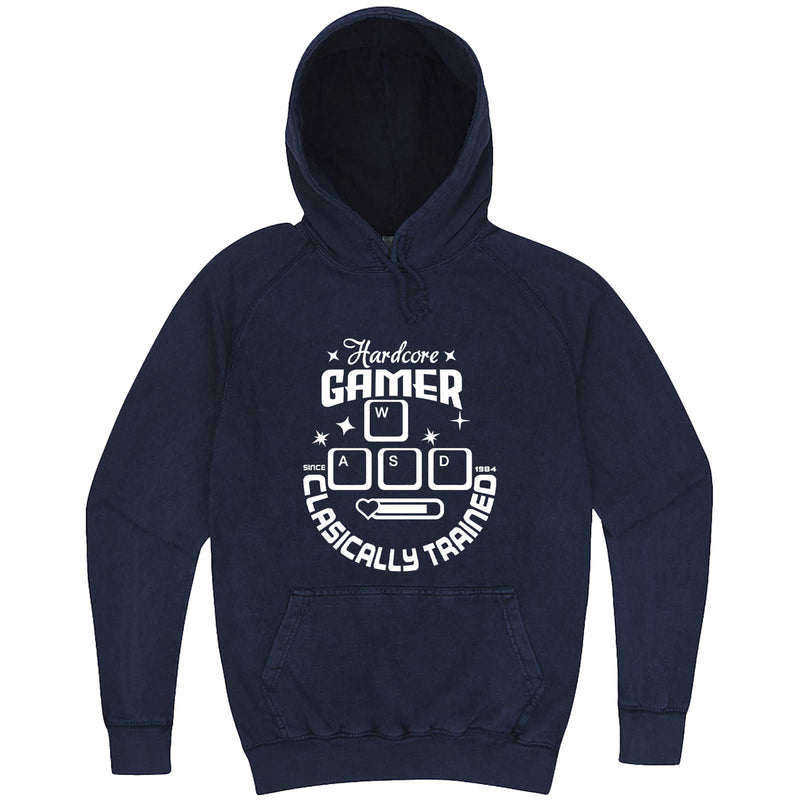 """Hardcore Gamer, Classically Trained"" hoodie, 3XL, Vintage Denim"