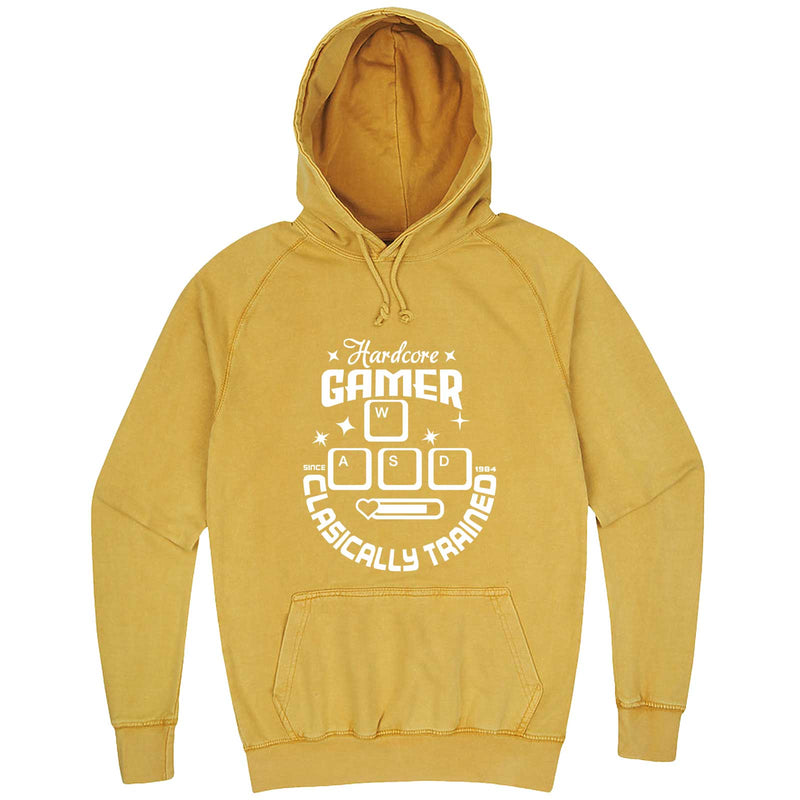 """Hardcore Gamer, Classically Trained"" hoodie, 3XL, Vintage Mustard"