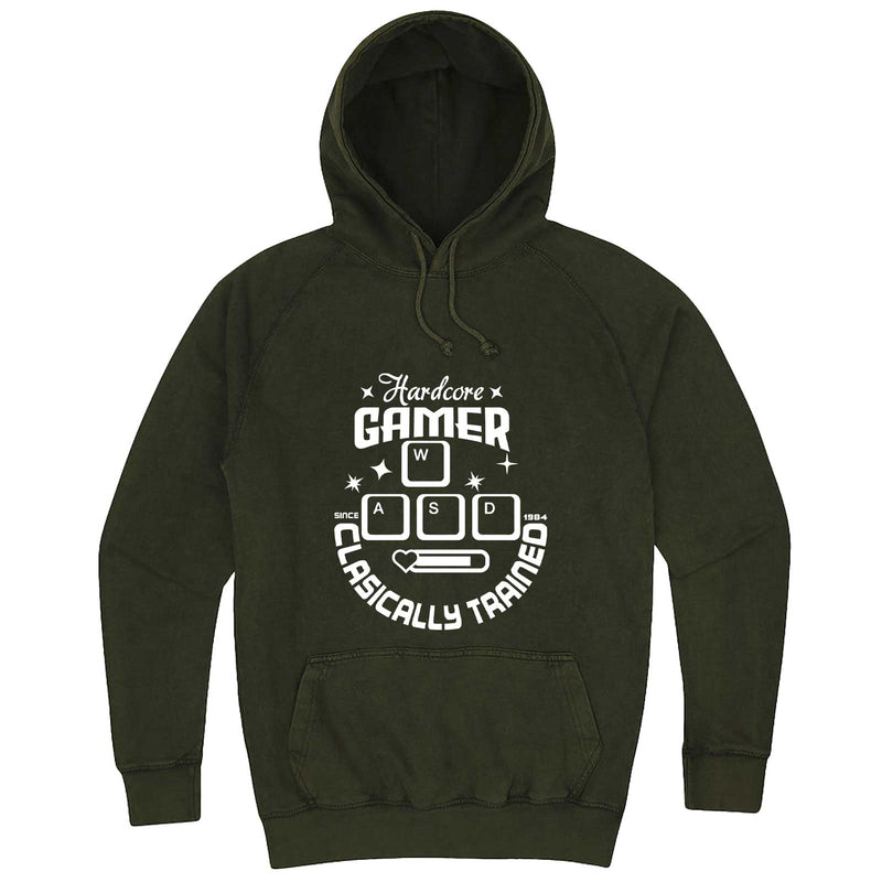 """Hardcore Gamer, Classically Trained"" hoodie, 3XL, Vintage Olive"