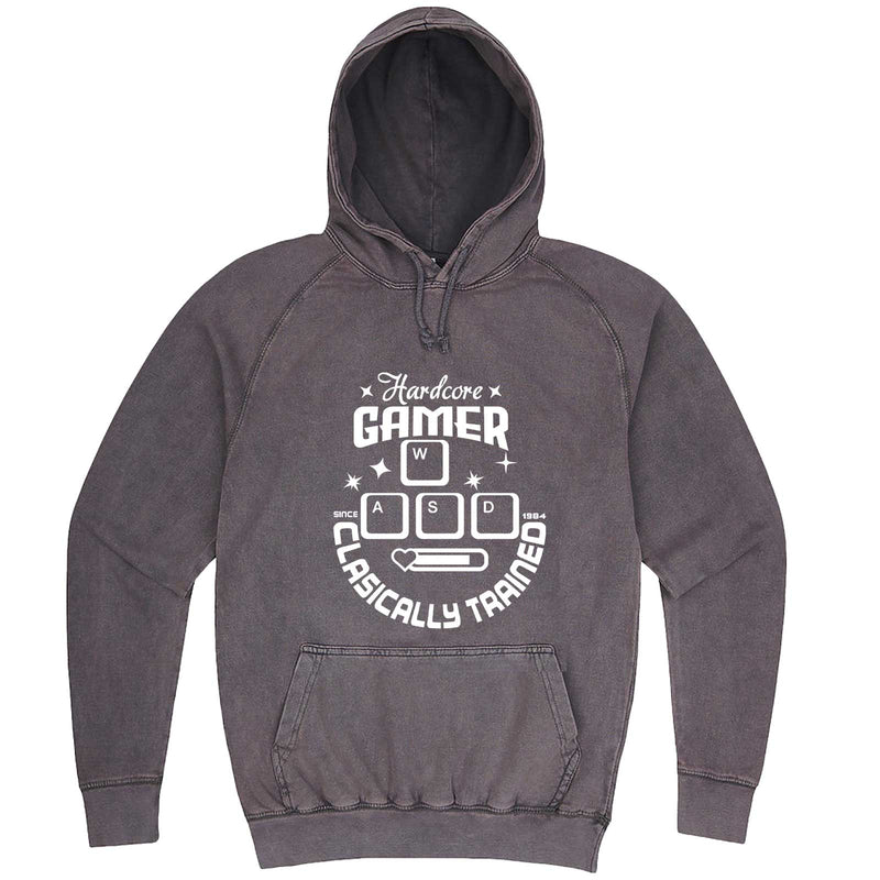 """Hardcore Gamer, Classically Trained"" hoodie, 3XL, Vintage Zinc"