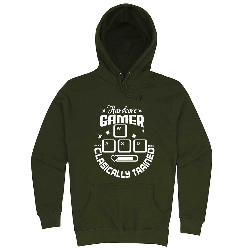 """Hardcore Gamer, Classically Trained"" hoodie, 3XL, Army Green"