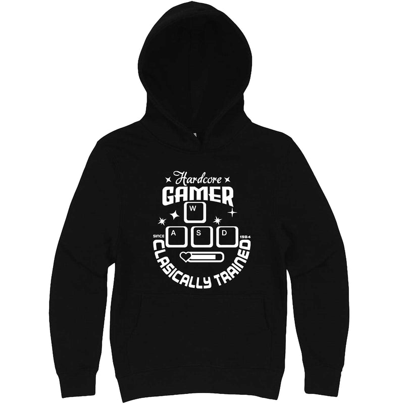 """Hardcore Gamer, Classically Trained"" hoodie, 3XL, Black"