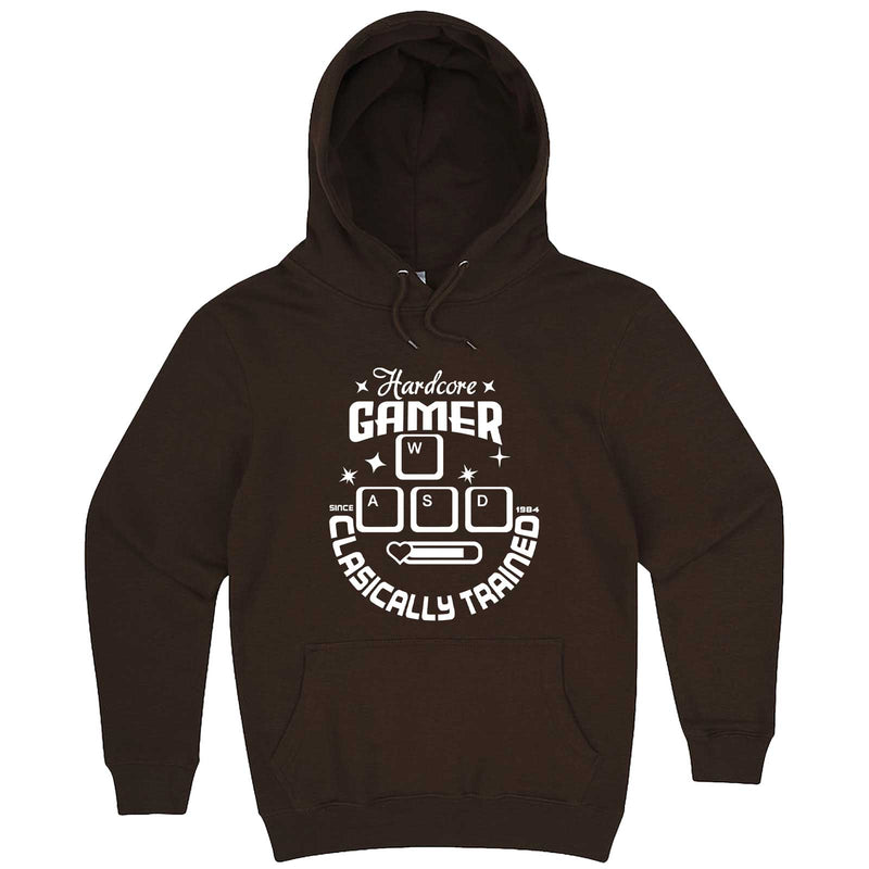 """Hardcore Gamer, Classically Trained"" hoodie, 3XL, Chestnut"